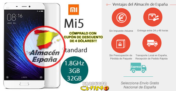 Xiaomi Mi5 Almacén España Cupón Descuento Alegre Compra