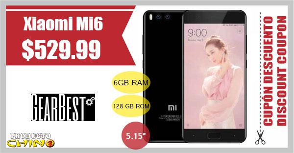 Xiaomi Mi6 6GB RAM Cupón Descuento Gearbest