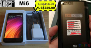 Solo $389.99 para Xiaomi Mi6 Cupón Descuento Gearbest