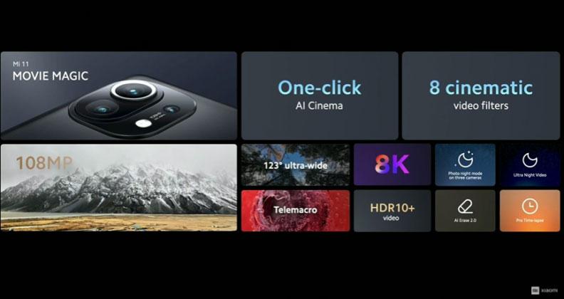 Xiaomi Mi 11 hace su debut mundial con SD888 y cámara para grabar películas